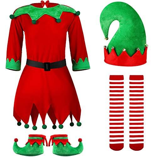 Set Costume da Elfo Natalizio per Bambini Costume da Aiutante di Babbo Natale Vestito di Natale per Ragazze con Calze a Righe Cintura Scarpe Cappello da Elfo per Festa Vestirsi, 7-12 Anni