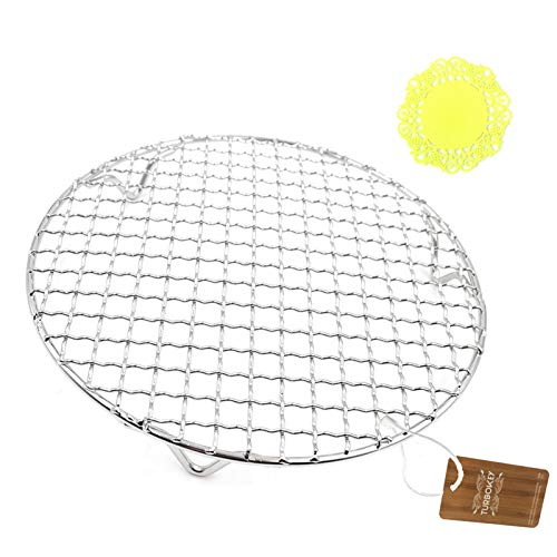 Turbokey Cooling Rack with Legs Dia 7' Round Stainless Steel Cross Wire Barbecue Carbon Baking Net Grill Pan Grate for Instant Pot/Pressure Cooker/Oven (180mm/7')
