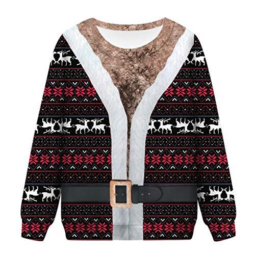 Why Choose Women Ugly Sweatshirts Hooded Plus Size Long Sleeve Drawstring Pullover 3D Skulls Snowfla...