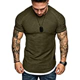 Plain Tees for Men, Workout Muscle Pleated Sleeve Longline T-Shirts Summer Sport Stylish Short...