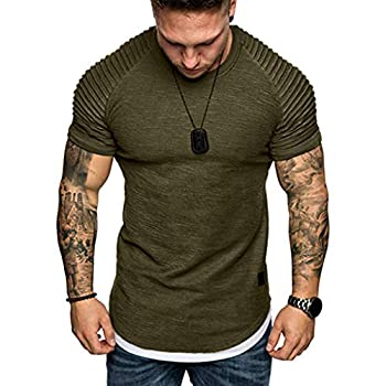 Hmlai Clearance Men s Fashion Short Sleeve Summer Casual Pleated Slim Fit Raglan Hoodie Hipster Solid Cotton Tops Blouses  M Army Green