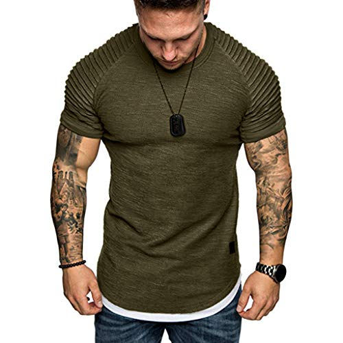 Plain Tees for Men, Workout Muscle Pleated Sleeve Longline T-Shirts Summer Sport Stylish Short Sleeve O-Neck Tops by Leegor Army Green