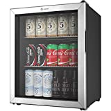 Vremi 2.7 Cubic Feet Beverage Cooler - Double Layered Glass Door Mini Fridge for Can Drinks - with Adjustable Shelves and User-Friendly Temperature Knob - Modern Cooling Machine for Home Office Dorm