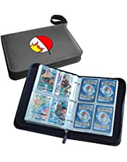 400 Pockets Trading Card Sleeves, Carrying 4-Pocket Binder, Album Pages Card Collector Coin Holders Wallets Sleeves Set for Pokemon Trading Cards