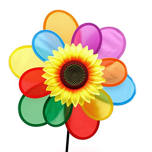 Why Should You Buy YDZN Sunflower Windmill Wind Spinner Rainbow Whirligig Wheel For Home Yard Decora...