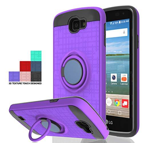 Wtiaw:LG Optimus Zone 3 Case,LG Spree Case,LG Rebel LTE Case,LG K4 Case(2016),LG K4 Gray Case,LG Optimus Zone 3 VS425PP/LG K4 LTE Case,360 Degree Rotating Ring Kickstand Case for LG K4-CH Purple