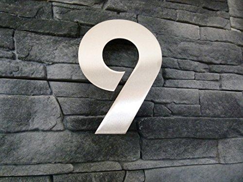 Hausnummer 9 Edelstahl 200/150mm Schrifttyp Bauhaus Avantage Metall Massive Ausführung (150mm)