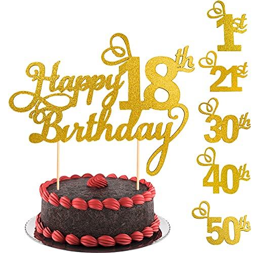 LUKIUP® 2 Toppers de Tarta de Cumpleaños de Los 18 Palillos Toppers de Pastel Cupcake Happy 18th Birthday Decoración Brillante de Pastel para Suministros de Fiesta de Cumpleaños (Dorado)