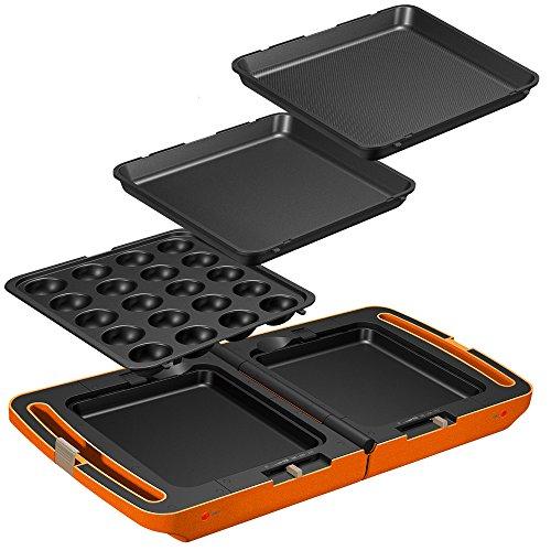 アイリスオーヤマ ホットプレート たこ焼き 平面 ディンプル プレート 3枚 両面 角型 左右独立温度設定 オレンジ DPO-133-D