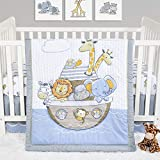 Noah's Ark Jungle Animal Theme Neutral 4 Piece Baby Crib Bedding Set