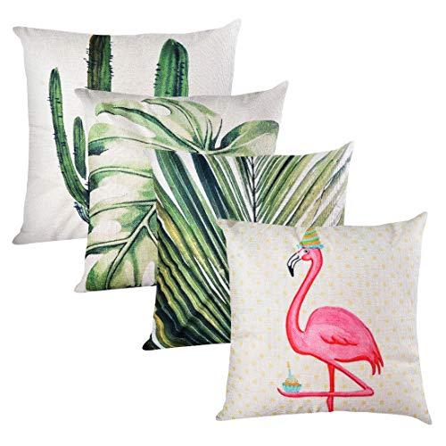 SearchI Funda de Almohada Algodón Lino para Cojín Pack de 4 Fundas de Almohada para Sofa Cama Coche 45x45cm (Flamingo y Planta Tropical)