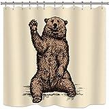 Riyidecor Funny Animal Bear Shower Curtain Free Metal Hooks 12-Pack Say Hello Kids Decor Fabric Bathroom Set Polyester Waterproof 72Wx72H Inch Beige