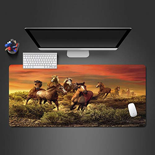 JIACHOZI deskpad Mouse pad Sunset Grassland Animals Horses 1200×600×3mm Large Gaming Mouse Pad with Stitched Edges, Extended Mousepad with Superior Micro-Weave Cloth, Non-Slip Base, Keyboard Pad,