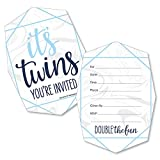 It's Twin Boys - Shaped Fill-in Invitations - Blue Twins Baby Shower Invitation Cards with Envelopes - Set of 12