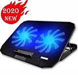 KEROLFFU 10-15.6' Office Laptop Cooling Pad (Big 2Fans Super Quiet, Double Sides Built-in USB Line, Back Feet Stand)