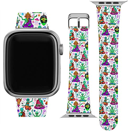 Lex Altern Band Compatible with Apple Watch Series 6 SE 5 4 3 2 1 38mm 40mm 42mm 44mm Thin Green Aliens Wristband Space Stylish Replacement Strap for iWatch Trippy Buddha Psychedelic PU Leather wh151