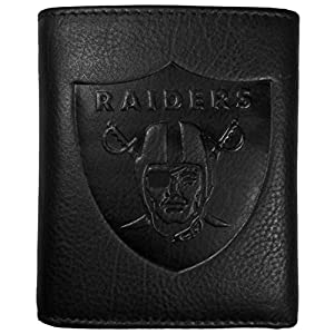 NFL Siskiyou Sports Mens Las Vegas Raiders Embossed Leather Tri-fold Wallet One Size Black from Siskiyou Gifts Co, Inc.