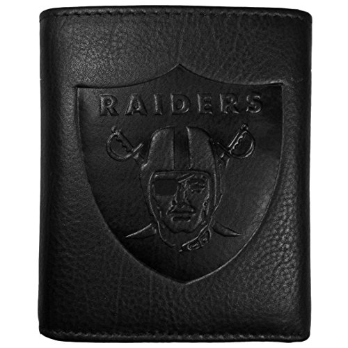NFL Siskiyou Sports Mens Las Vegas Raiders Embossed Leather Tri-fold Wallet One Size Black