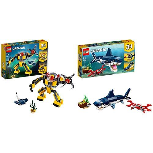 LEGO Creator Robot Submarino, Juguete de Aventuras en el mar para Construir (31090), Color/Modelo Surtido + Creator Criaturas del Fondo Marino