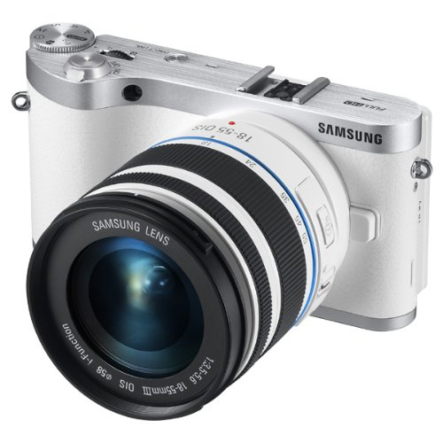 "Samsung NX300 20.3MP CMOS Smart WiFi Mirrorless Digital Camera with 18-55mm Lens and 3.3"" AMOLED Touch Screen (White)"