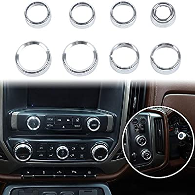 Voodonala for Silverado Radio AC Knobs Air Conditioner Switch Button for 2014-2018 Chevy Silverado, Aluminum Alloy, Silver 8pcs