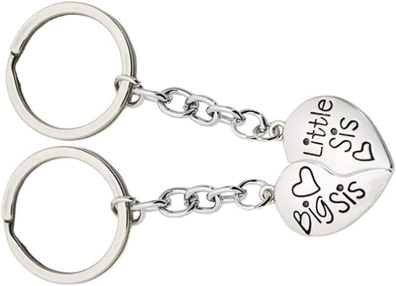 Wakauto 2pcs Sister Keychains for 2 Love Heart Puzzle Keychain Big Sis Little Sis Hanging Keyring Friendship Keychain Puzzle Pendant Graduation Keychain Souvenir