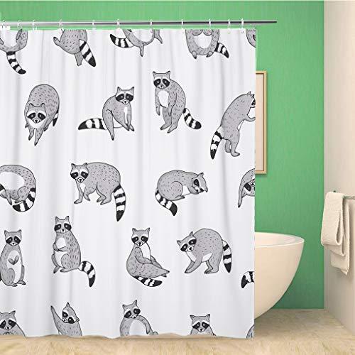 Awowee Dekorativer Duschvorhang Action Cute Waschbär Tier Doodle Muster bezauberndes Baby Bandit 152 x 180 cm Polyestergewebe Wasserdicht Badvorhänge Set mit Haken für Badezimmer