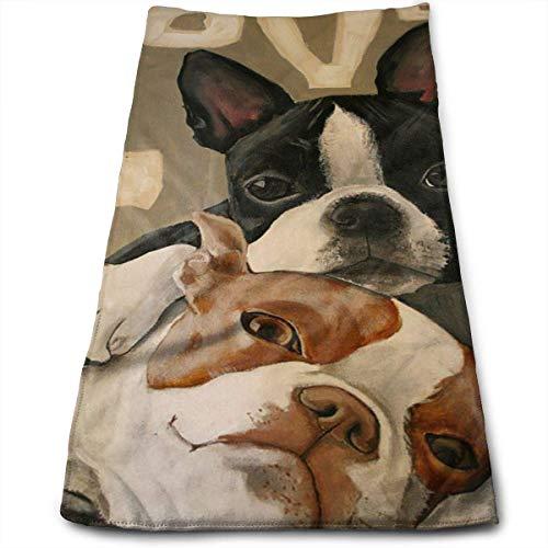 AEMAPE Boston Terrier - Toalla de Mano Impresa, Suave, Muy Absorbente, Grande, Multiusos para Manos, Cara, baño, Gimnasio, Hotel, SPA, 12 'X 27' -O66