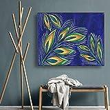 LPaWD Moderne Plante Aquarelle Feuille Mur Art Toile Affiches Et Impressions Salon Chambre Maison Art Mur Photo Salon Maison A3 60x90 cm