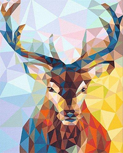 Fuumuui Lienzo de Bricolaje Regalo de Pintura al óleo para Adultos niños Pintura por número Kits Decoraciones para el hogar -Ciervo triángulo 16 * 20 Pulgadas