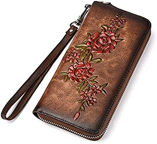 TOOGOO Fashion Women Wallet Leather Luxury Long Clutch Handy Bag Printing Floral Female Card Purse Money Clips Coffee
