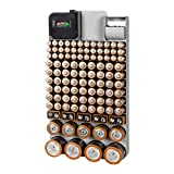 Richards GREY/110 Piece Organizer with Energy Tester, Holds 109 Different Sizes for AAA, AA, 9V, C, D, and Button Battery, Grey