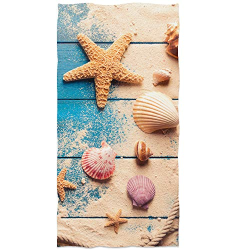 Sea Shells and Starfish On Blue Wooden Background Face Towels Soft Highly Absorbent Summer Beach Hand Towels Multipurpose for Bathroom, Hotel, Gym, Swimming and Spa (13.7 X 29.5 inch)