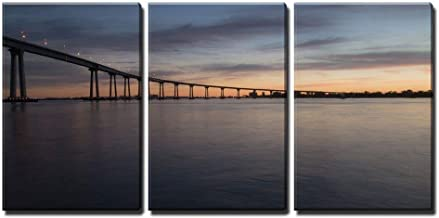 wall26 - 3 Piece Canvas Wall Art - San Diego Coronado Bridge at Dusk - Modern Home Decor Stretched and Framed Ready to Hang - 16