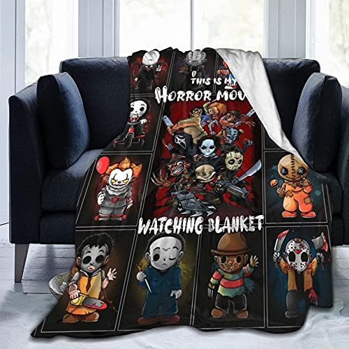 This is My Horror Movies Watching Blanket Halloween Throw Blankets 50'X40' Lightweight Flannel Fleece Blanket for Kids