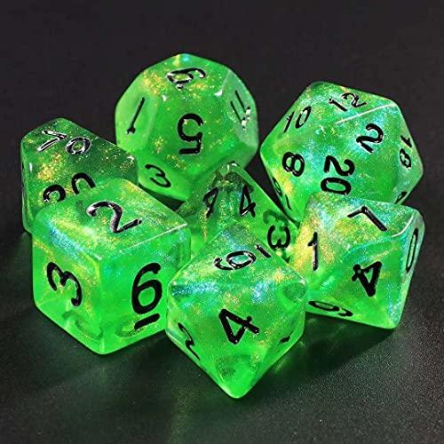 DND Würfel-Set Polyedrische Würfel 7 Würfel Glitzer Würfel für Dungeons and Dragons Pathfinder RPG MTG Tisch-Gaming-Würfel (grün)