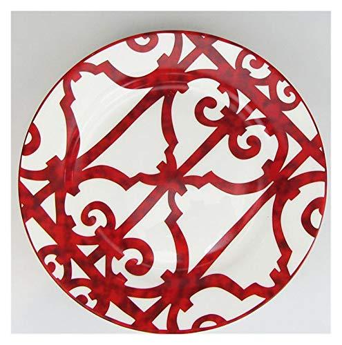 YINGYINGSM Plato de Cena Bone China Plato de Comida española Red Red Plato de diseño del Arte Juegos de Placas Vajillas Cocina (Color : 27cm Plate)