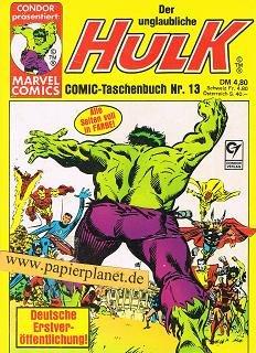 Der unglaubliche Hulk Comic-Taschenbuch Nr. 13. Condor präsentiert: Marvel Comics.