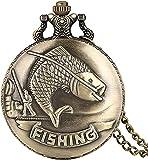 FHISD Reloj de Bolsillo Reloj de Bolsillo Vintage Patrón de Pesca con caña Reloj de Bolsillo Regalo para Hombres y Mujeres Acción de Gracias