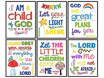 Bible Verse Wall Art - Scripture Wall Art - Christian Wall Art for Kids Boys Girls Bedroom - Religious Gifts for Kids - Aesthetic Wall Collage Kit - God Wall Decor - Positive Inspirational Quotes