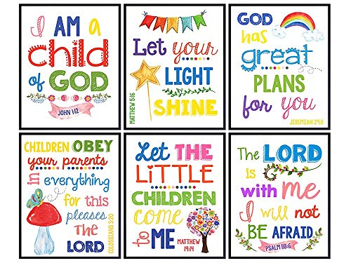 Bible Verse Wall Art - Scripture Wall Art - Christian Wall Art for Kids, Boys, Girls Bedroom - Religious Gifts for Kids - Aesthetic Wall Collage Kit - God Wall Decor - Positive Inspirational Quotes