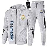 JesUsAvila de Los Hombres Chandal Conjunto Trotar Traje Real-Madrid Hooded Zipper Chaqueta + Pantalones Deporte Sudadera Suéter de Los Hombres/gray/XL