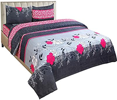 Generic Glace Cotton Pack of 1 Double Bed Sheets with 2 Pillow Cover  Bed Sheet Size-225X228   Pillow Size-43X73 cm   Pink & Grey