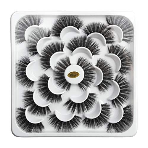 10Pcs Femme Assiette Lotus BZLine 5D Cheveux de vison Faux cils Fête de mode habiller De mariage Faux cils charmants