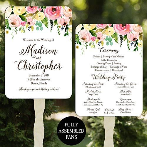 Wedding Program Fans Floral Bouquet