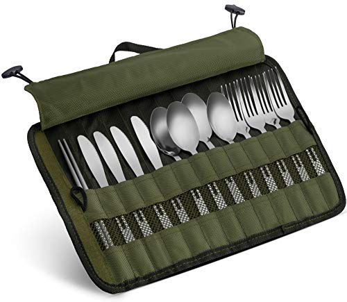 Cutlery Organizer Pouch - 13 Piece Silverware Table Display Stand  13 Pc Flatware Foldable Travel Storage Kit with Handle 4 Forks 4 Spoons 4 Knives and 1 Chopstick Set - Hiking  Camping  BBQs