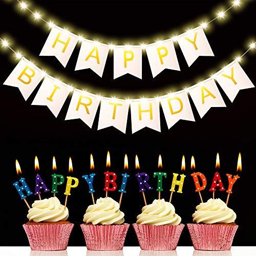 Hiboom Gold Folie Happy Birthday Banner mit 8 Modi LED Lichterketten, Schwalbenschwanz Flagge Happy Birthday Ammer Hängend Zeichen Geburtstagsfeier Beleuchtete Dekoration für Mädchen (Weiß)