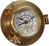 Noble Ojo de Buey Reloj, Tidenuhr Latón, Mecanismo de Cuarzo con Indicador de Marea Ø 14CM
