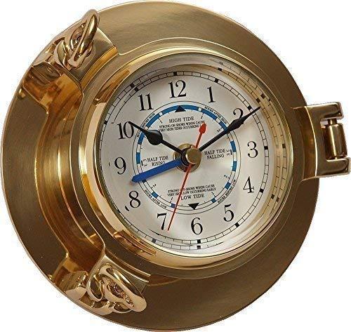 linoows Gezeitenuhr, Tidenuhr Messing, Bullaugen Uhr mit Tidenzeiger Ø 14 cm