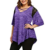 Mnyycxen Womens Criss Cross Neck T-Shirts Swing Blouses Lace Patchwork Tunic Casual Flowy Loose Plus Size Tops Purple